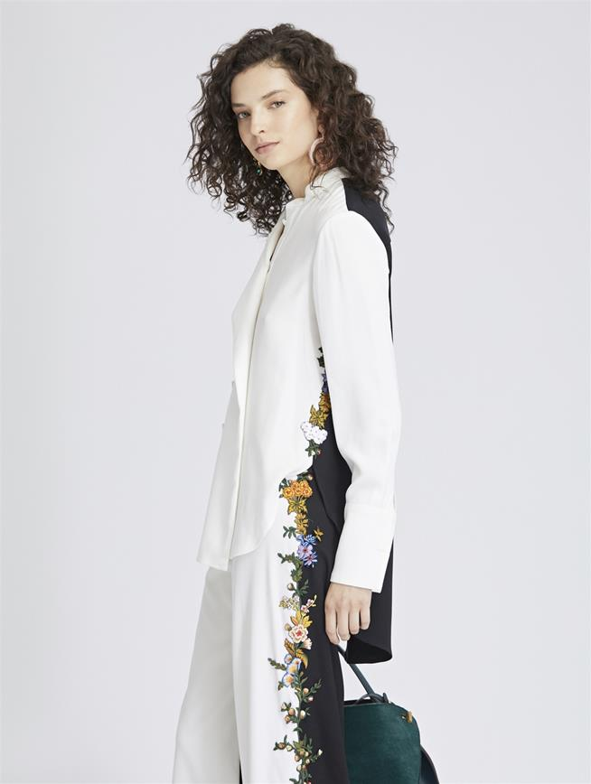Floral-Embroidered Stretch-Silk Georgette Blouse Ivory/Black