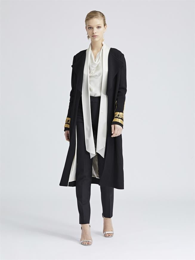 Pearl-Embroidered Stretch-Wool Crepe Coat Black
