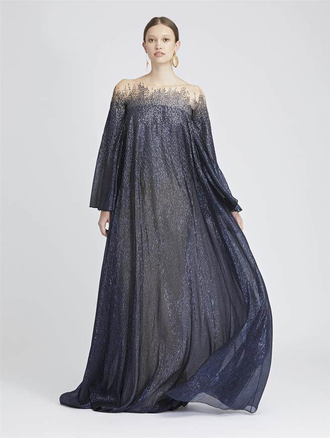 Beaded Lamé Mousseline Caftan Navy/Navy