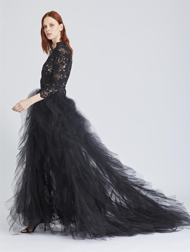 Scattered Floral Lace and Tulle Gown Black