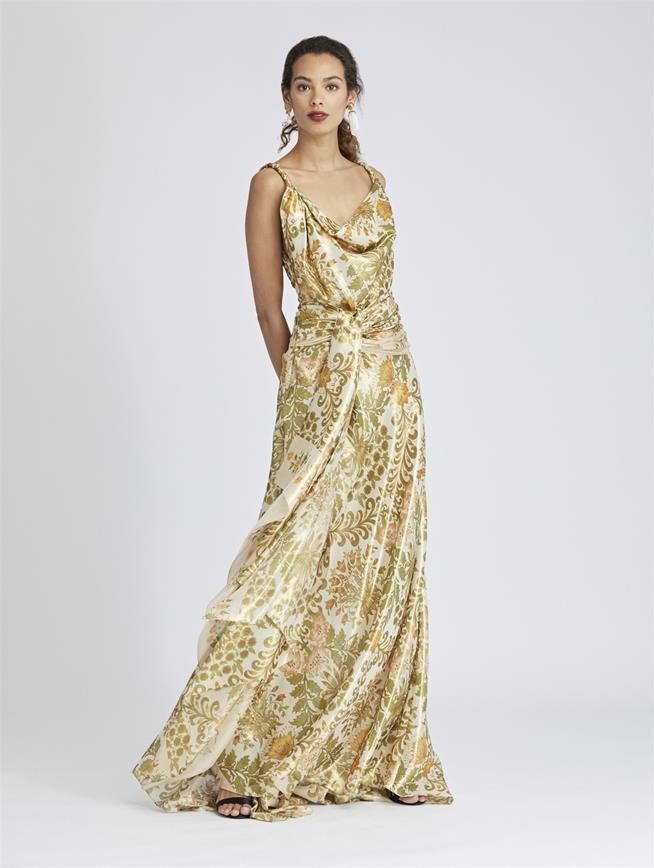 Floral Bouquet Lamé Gown Ecru Multi