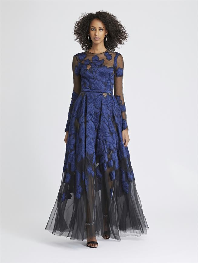 Fil Coupé and Silk-Organza Gown Marine/Black