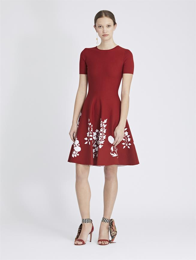 Floral Knit Dress Cranberry/White