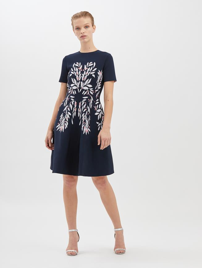 Botanical Leaf Knit Dress Navy