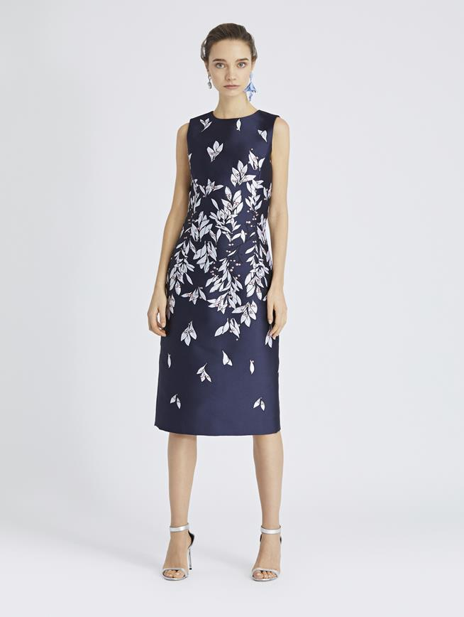 Leaves and Berries Jacquard Pencil Dress Navy