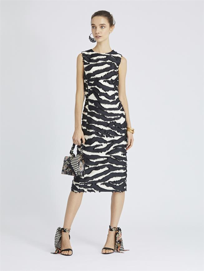 Zebra Fil Coupé Pencil Dress Black/Ivory