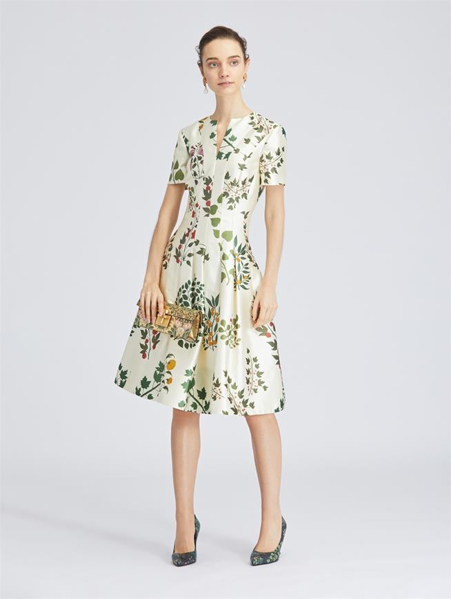 Botanical Branches Mikado Dress Ecru Multi