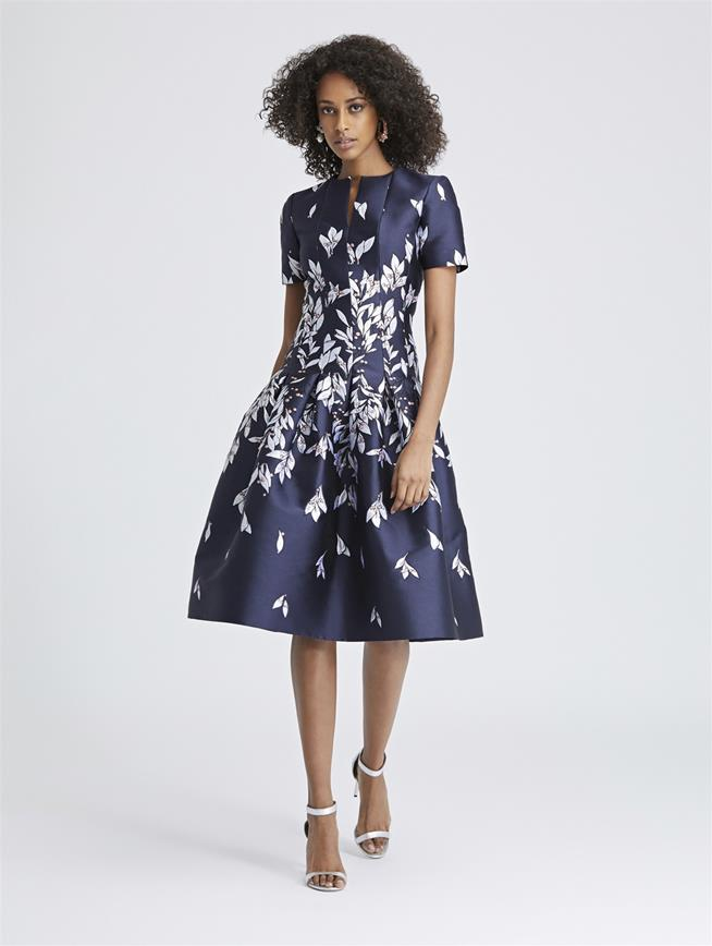 Leaves and Berries Jacquard Dress Navy