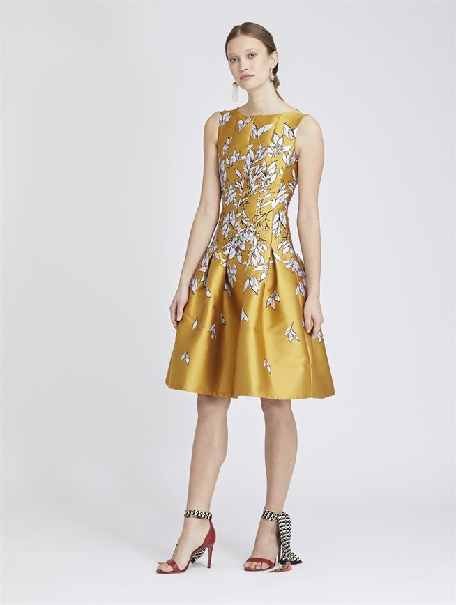 Leaves and Berries Jacquard Dress Saffron
