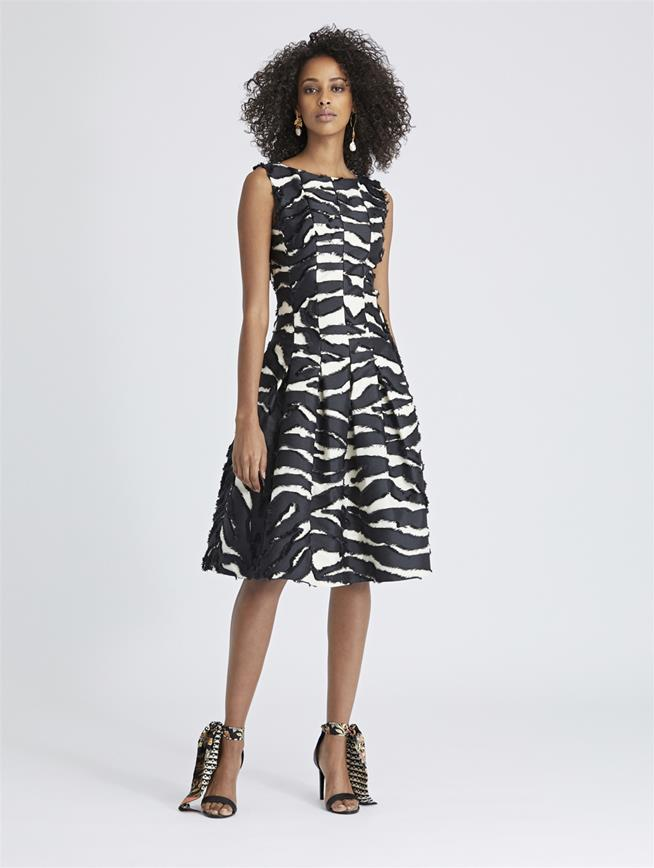 Zebra Fil Coupé Dress Black/Ivory