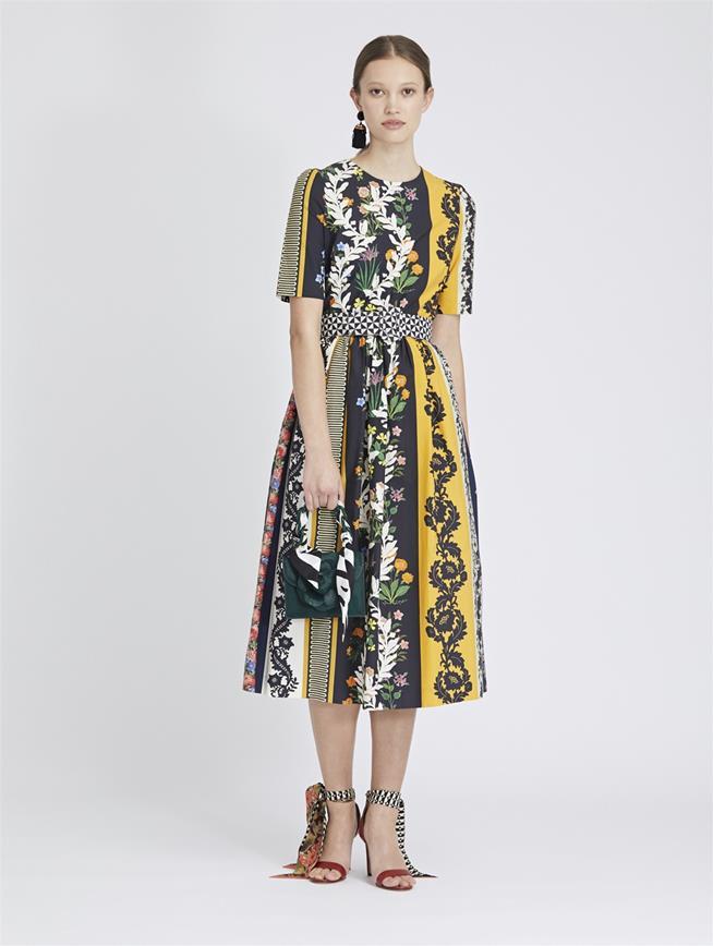Vintage Patchwork Cotton-Poplin Dress Saffron Multi