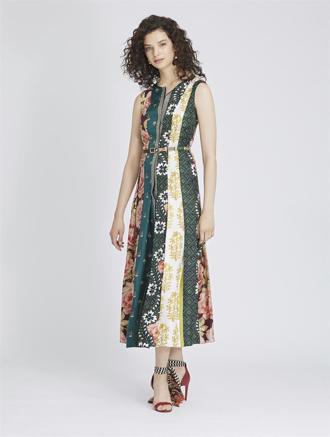 Patchwork Stripe King Silk-Twill Dress Spruce/Multi