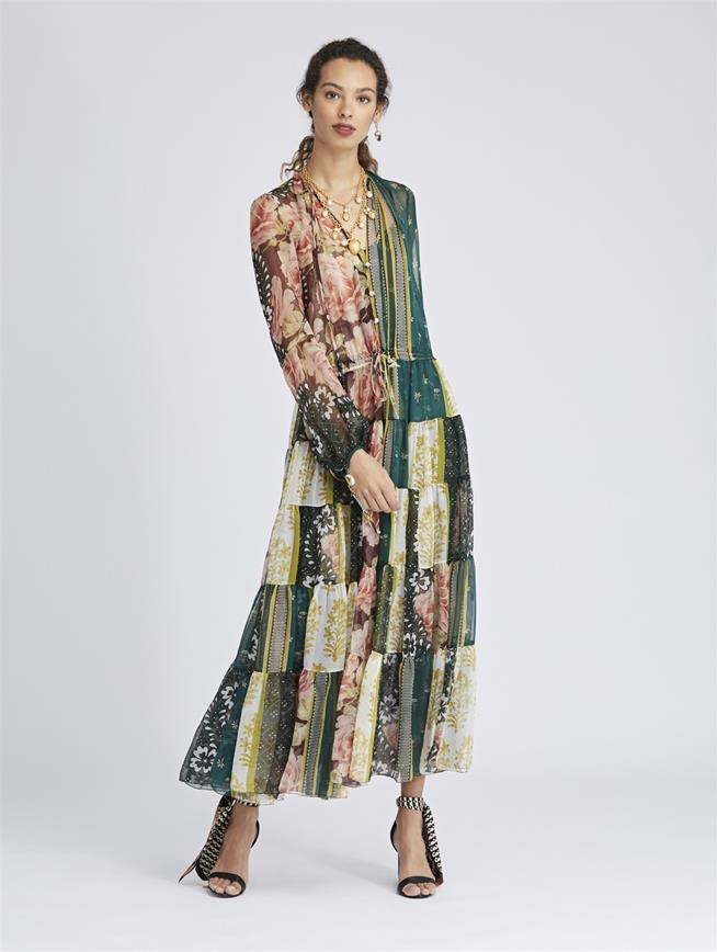 Patchwork Stripe Silk-Chiffon Dress Spruce/Multi