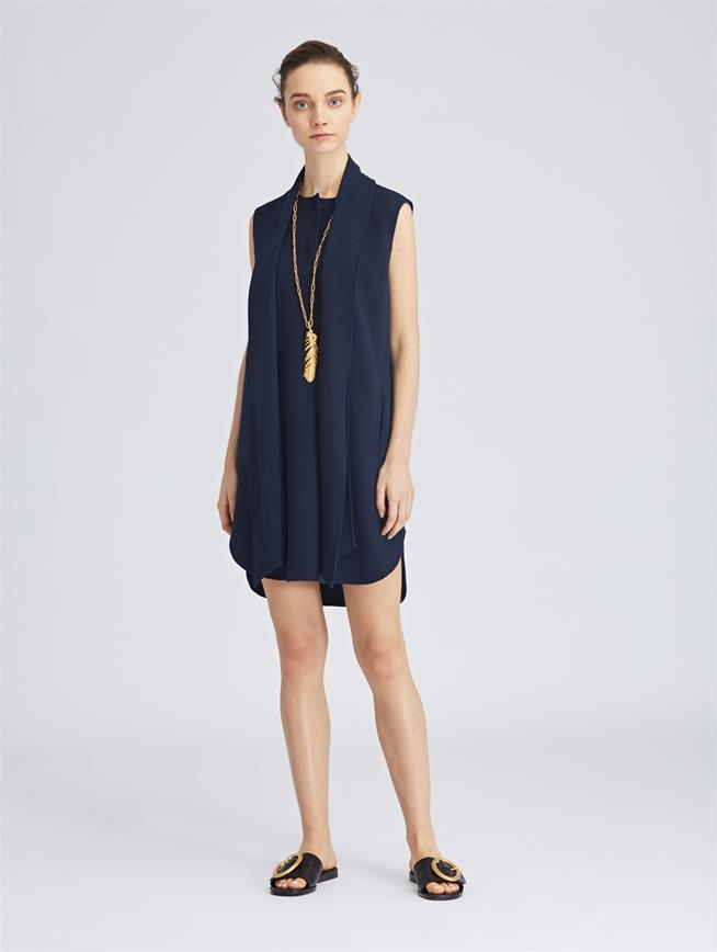 Stretch-Wool Crepe Dress Navy
