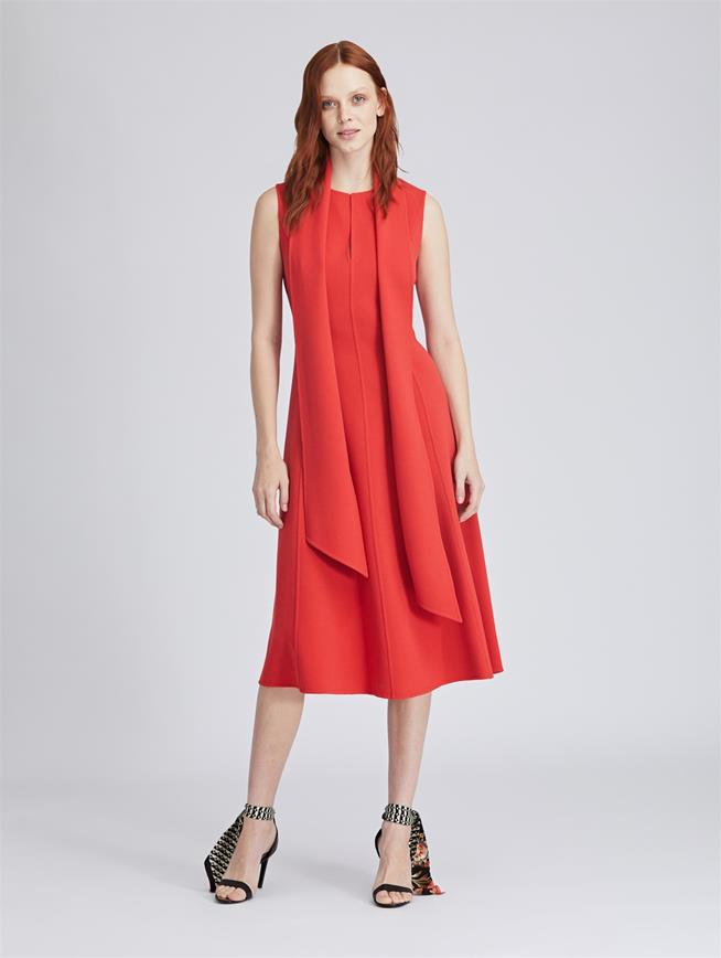Stretch-Wool Crepe Dress Papaya