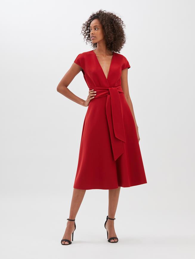Stretch-Wool Cady Dress Cranberry