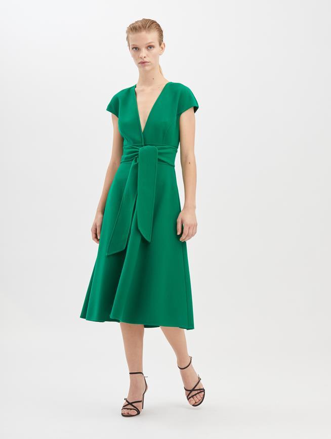 Stretch-Wool Cady Dress Evergreen