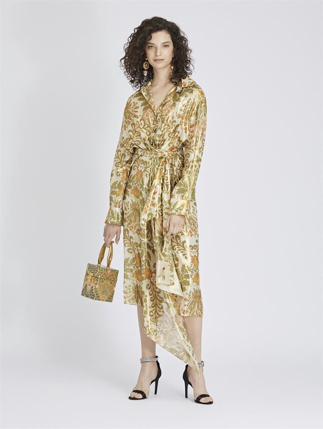 Asymmetric Floral Bouquet Lamé Wrap Dress Ecru Multi