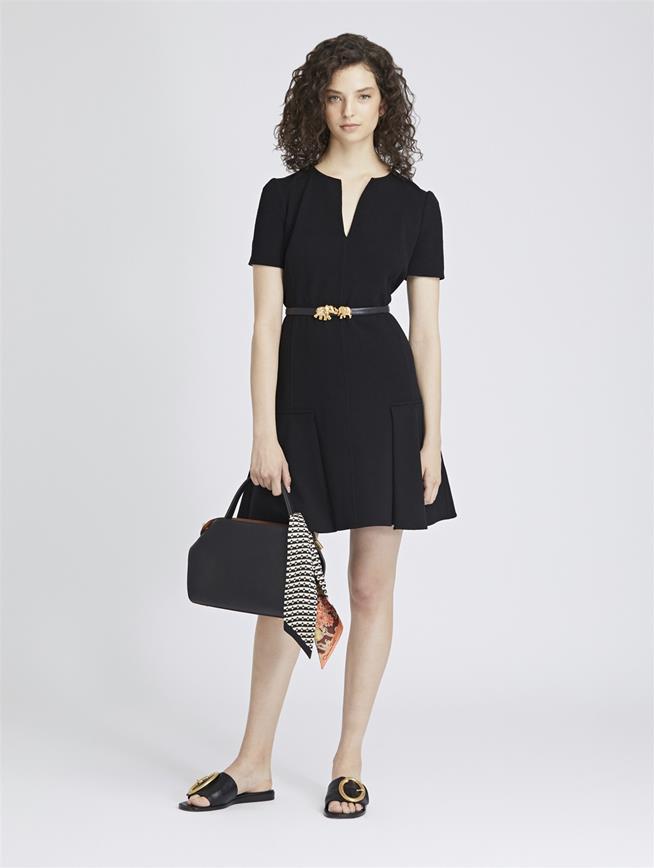 Stretch-Wool Crepe Dress Black