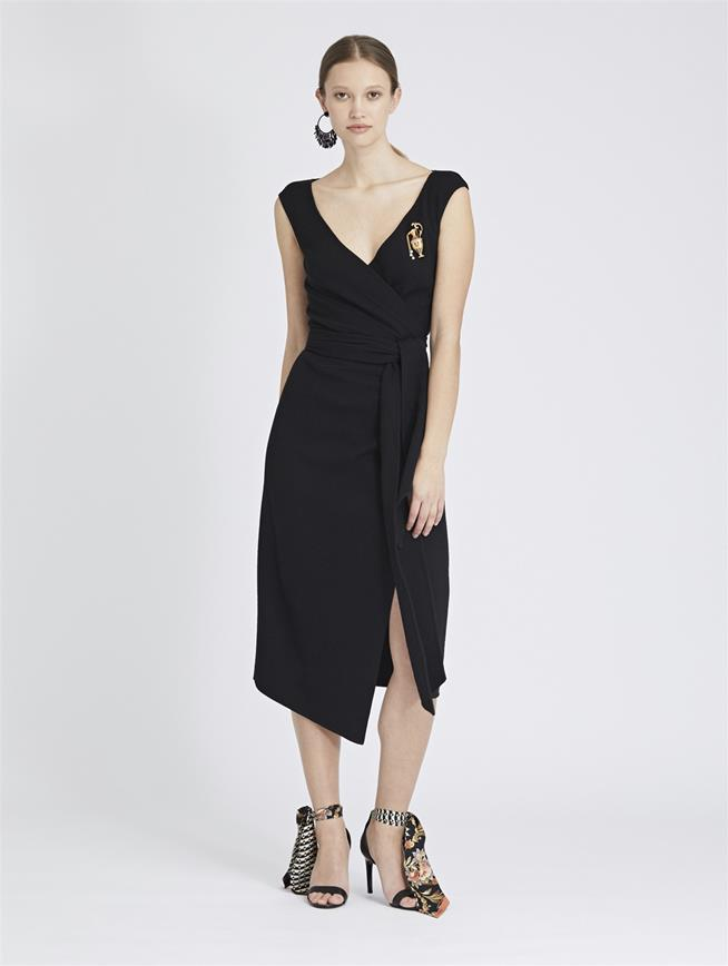 Stretch-Wool Crepe Wrap Dress Black