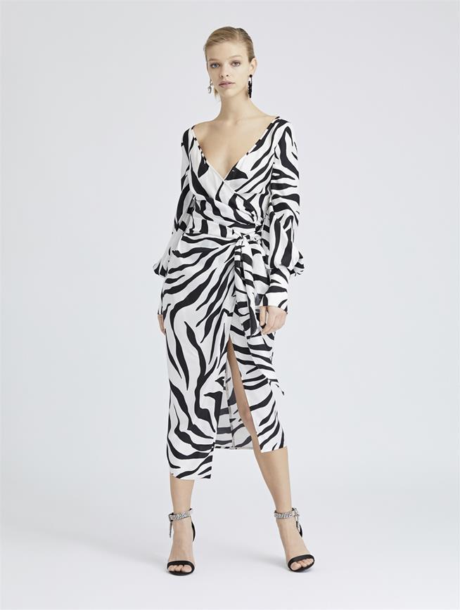 Zebra King Silk-Twill Wrap Dress White Black