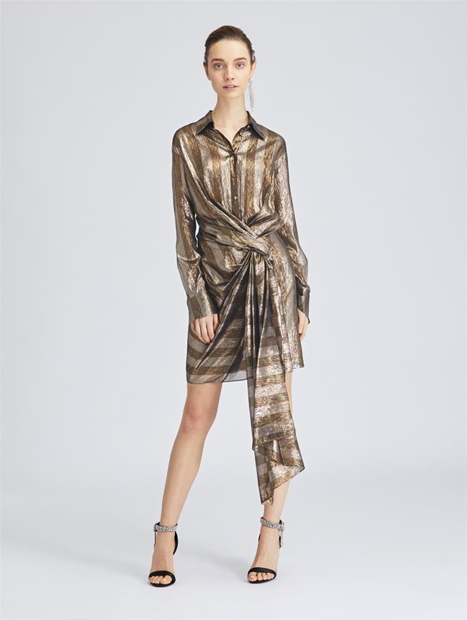Striped Lamé Mousseline Wrap Shirtdress Dark Gold/Silv