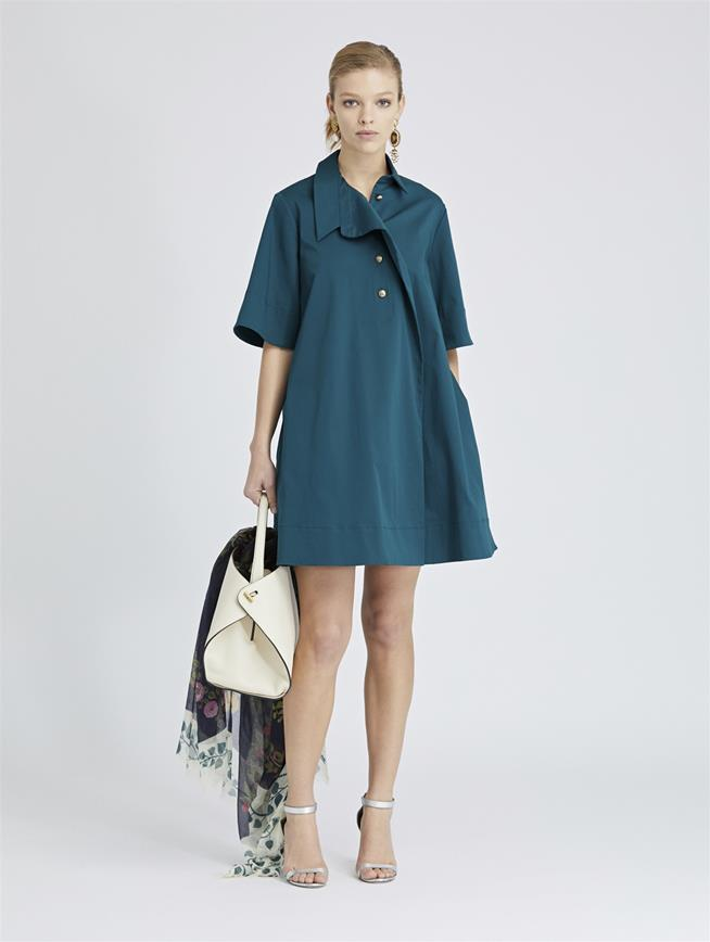 Stretch-Cotton Twill Dress Spruce