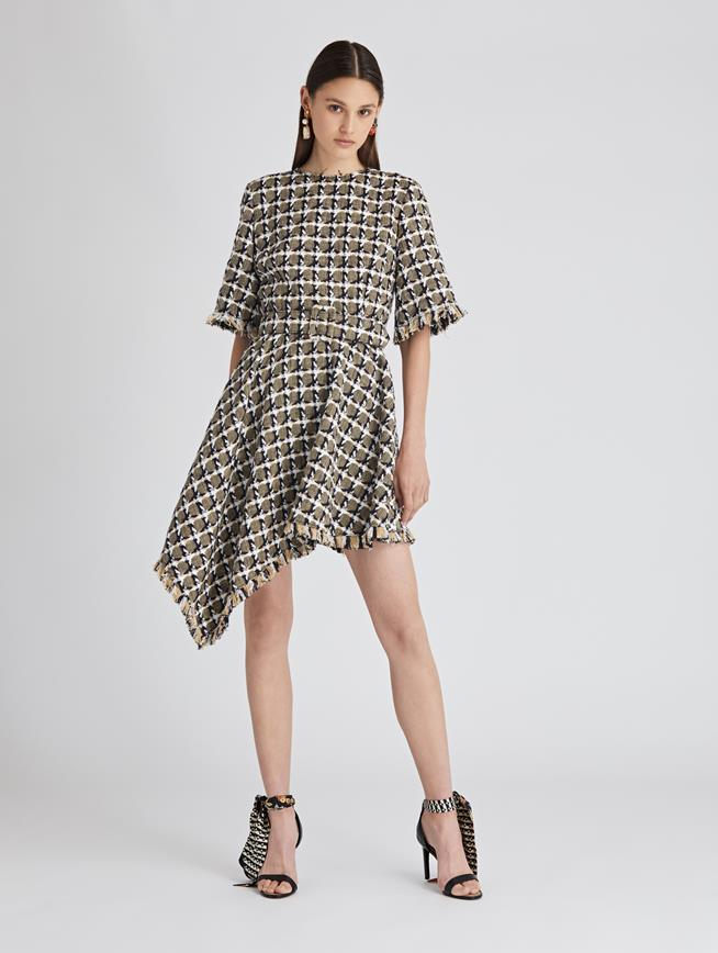 Asymmetric Houndstooth Tweed Dress Navy