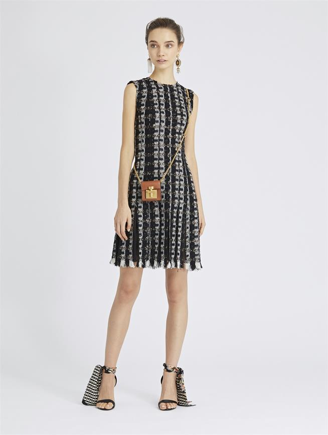 Sequin Stripes Tweed Cocktail Dress Black