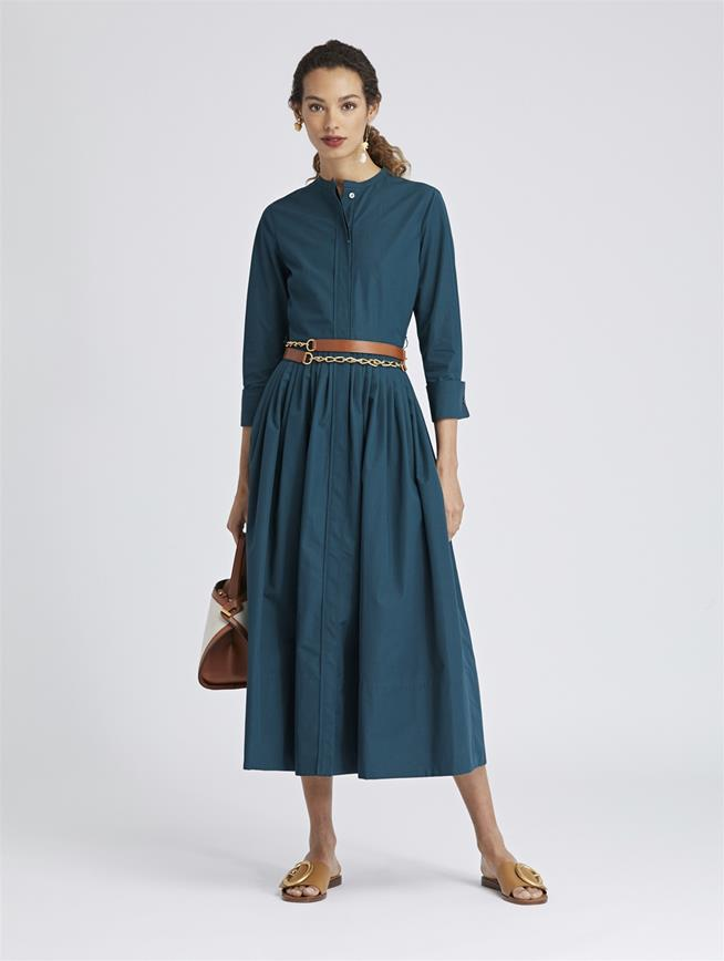 Cotton-Poplin Dress Spruce