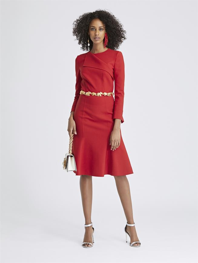 Double-Face Stretch-Wool Dress Ruby