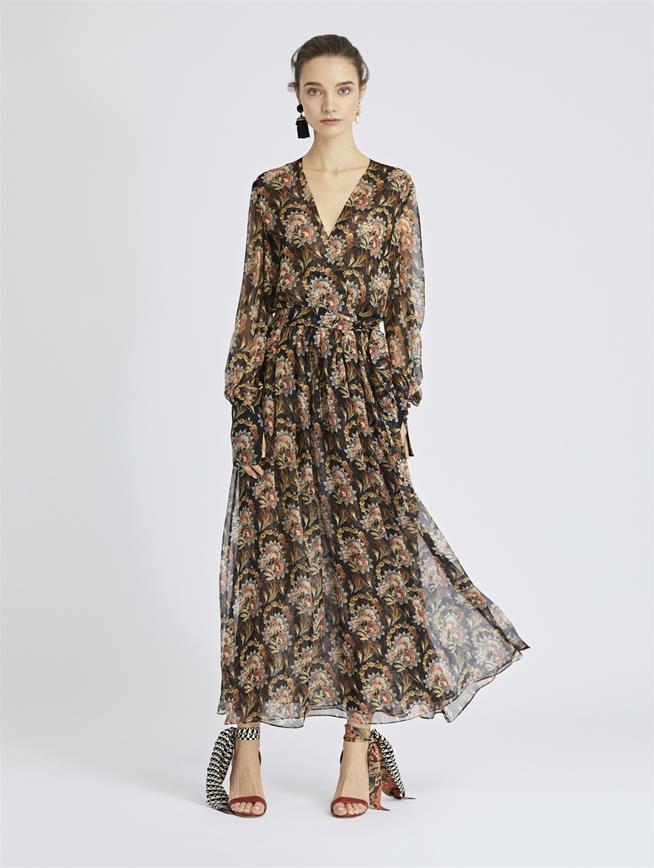 Tapestry Floral Silk-Chiffon Wrap Dress Black Multi