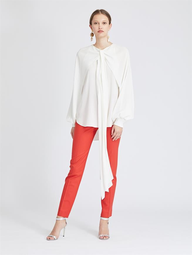 Stretch-Wool Gabardine Skinny Pants Papaya