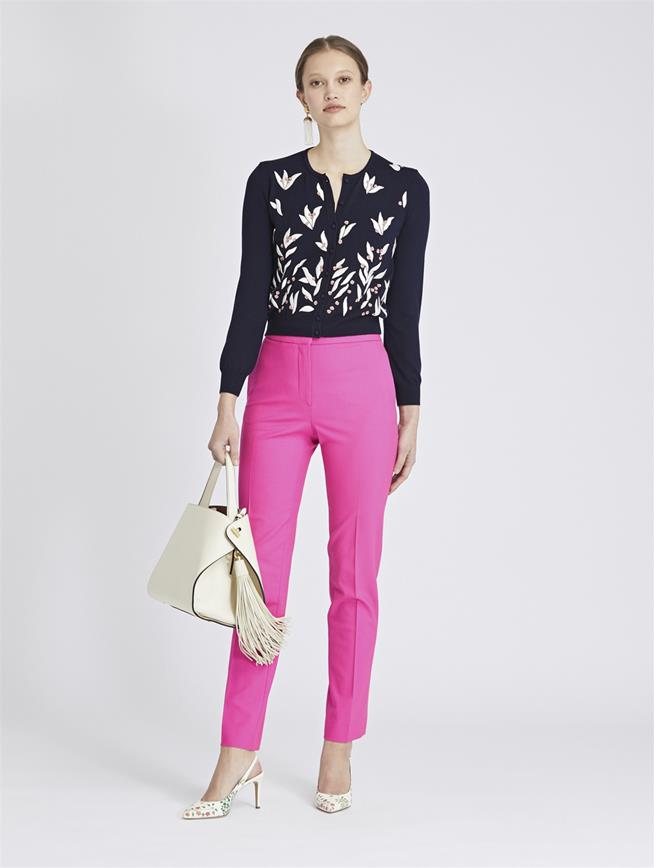 Stretch-Wool Gabardine Skinny Pants Shocking Pink