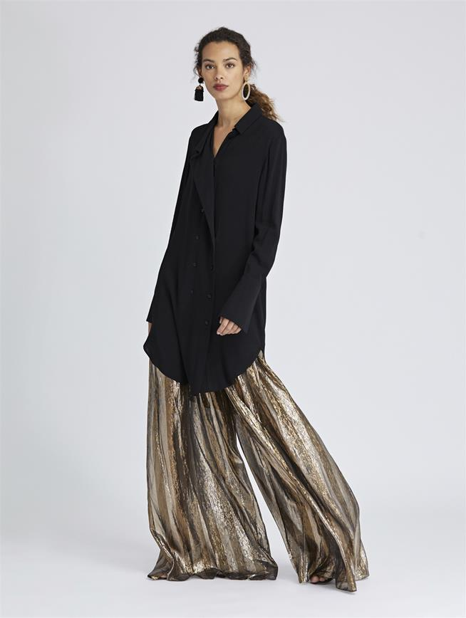 Striped Lamé Mousseline Wide-Leg Pants Dark Gold/Silver