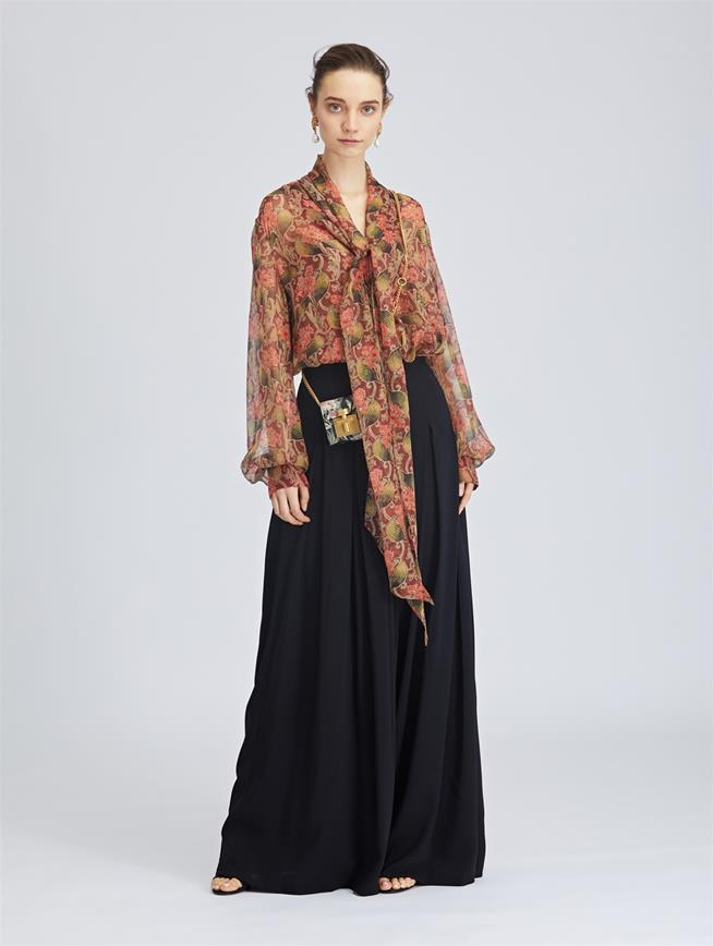 Stretch-Crepe Sable Wide-Leg Pants Black