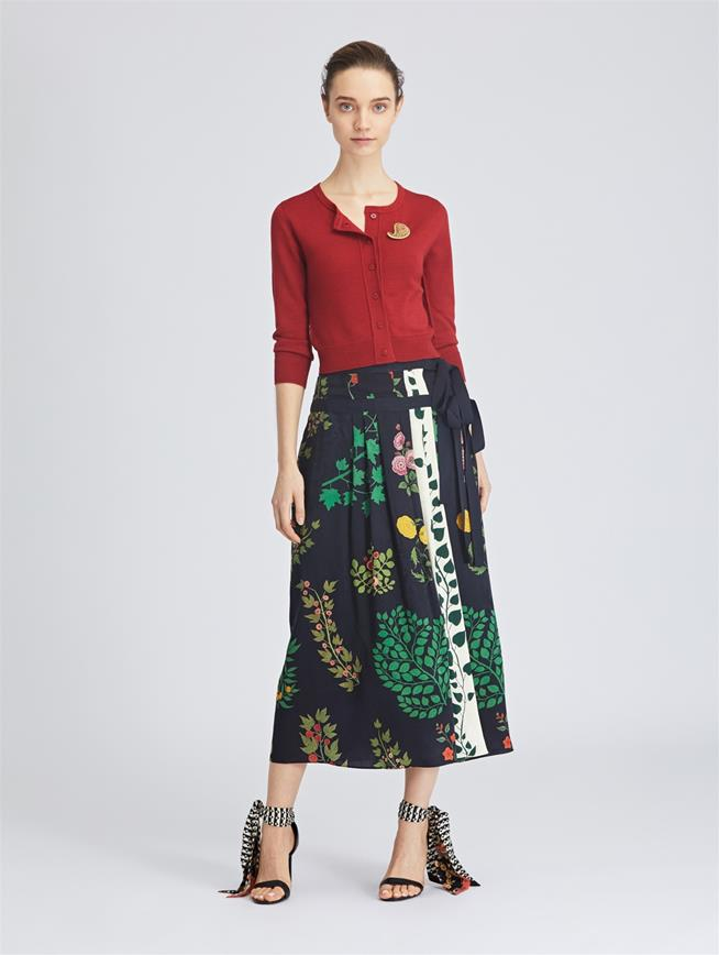 Botanical Branches Fluid Jacquard Skirt Navy