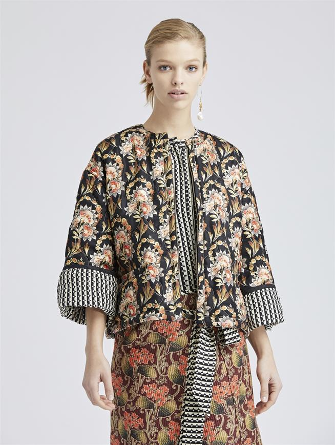 Quilted Tapestry Floral King Twill Jacket Black Multi