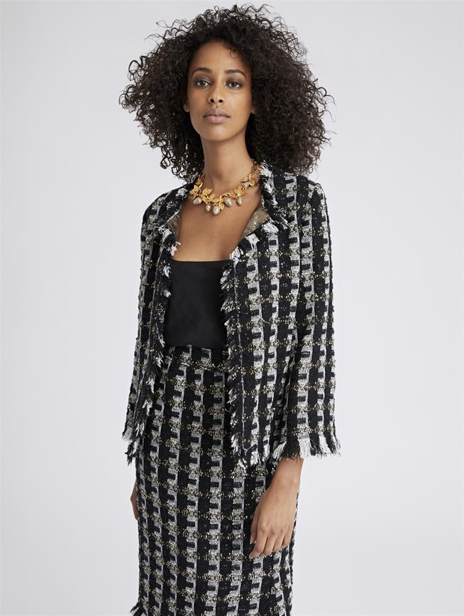 Sequin Stripes Tweed Jacket Black