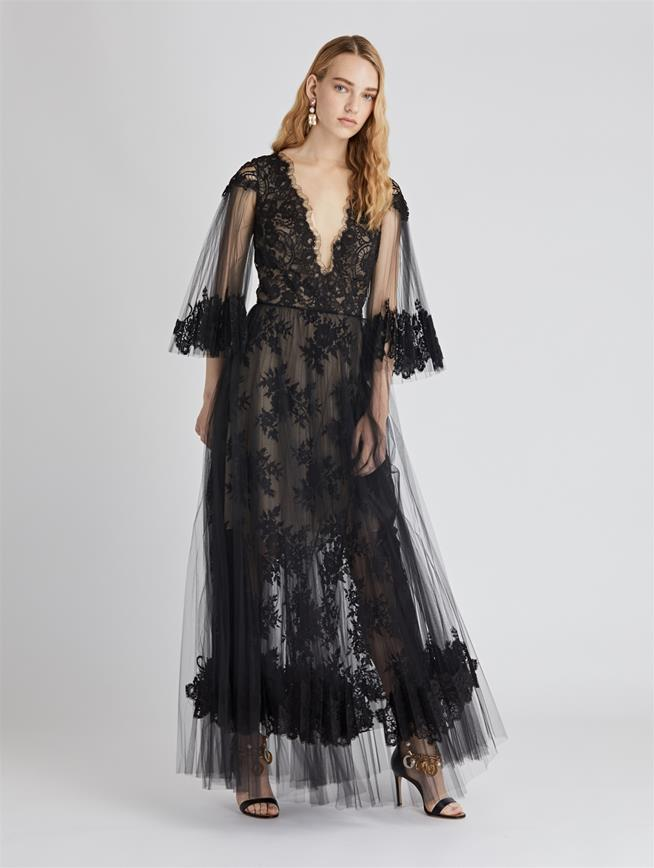 Lace and Tulle Cocktail Dress Black