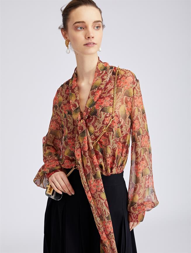 Art Deco Floral Silk-Chiffon Blouse Coral Multi