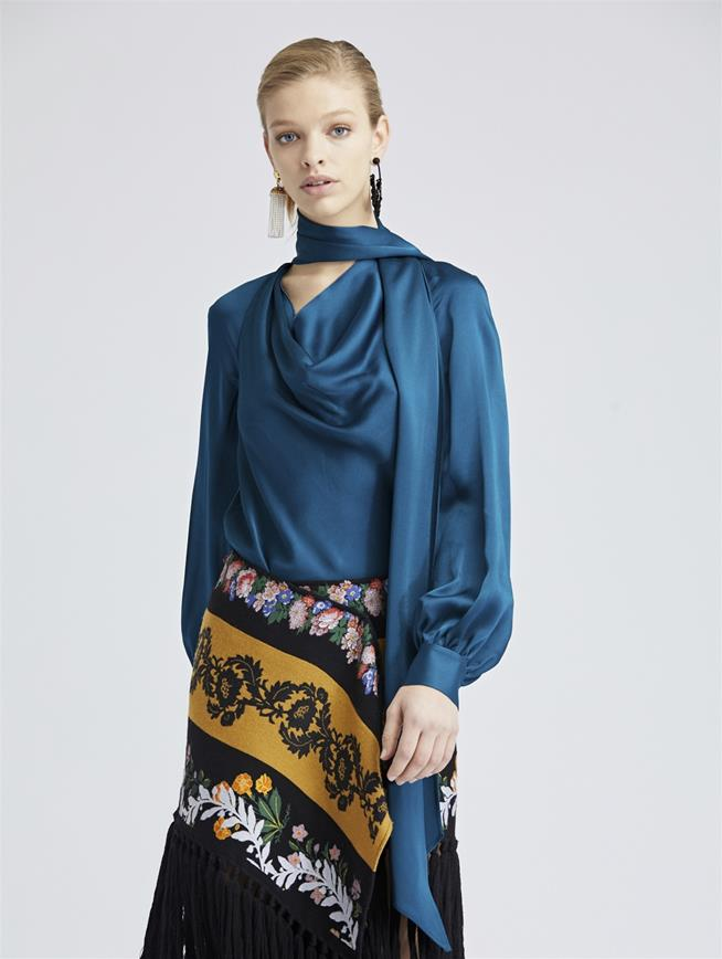Peacock Crepe Envers Satin Blouse Peacock
