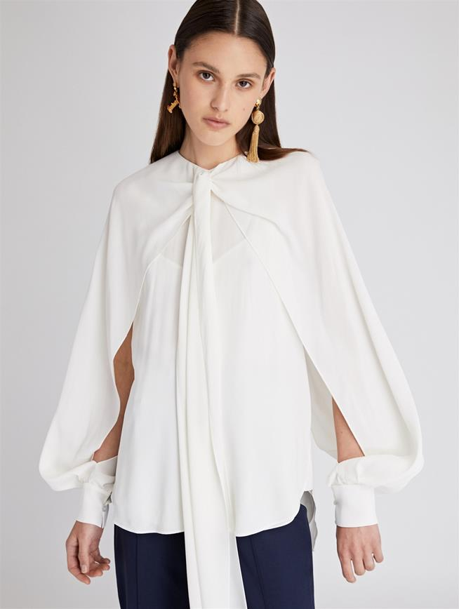 Ivory Stretch-Crepe Sable Blouse Ivory