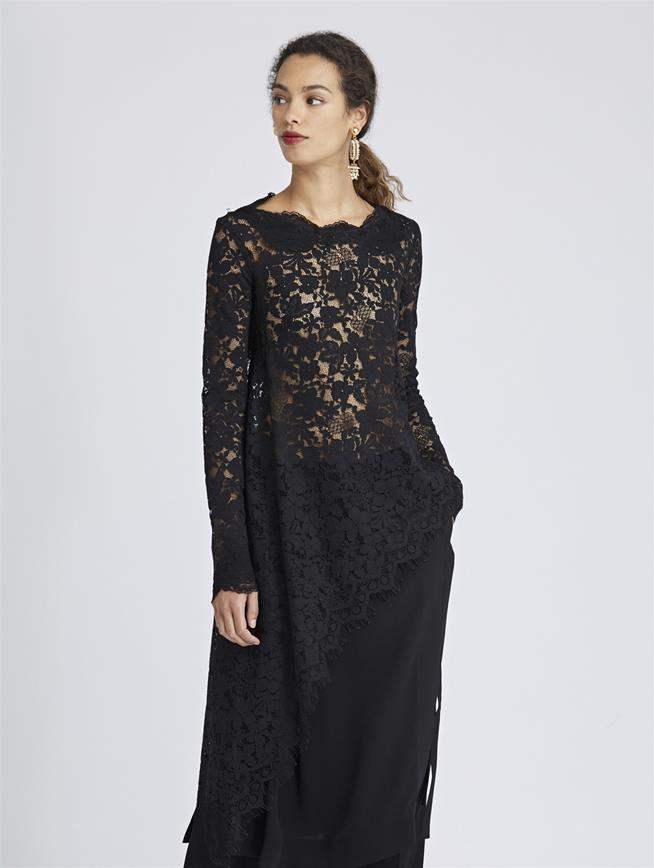 Asymmetric Scattered Floral Lace Blouse Black