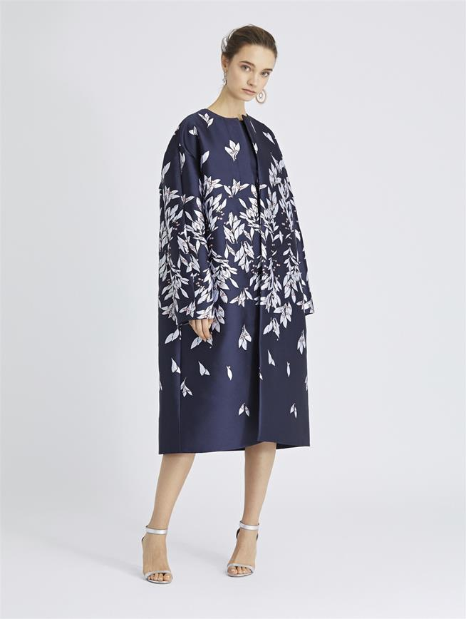 Leaves and Berries Jacquard Coat Navy