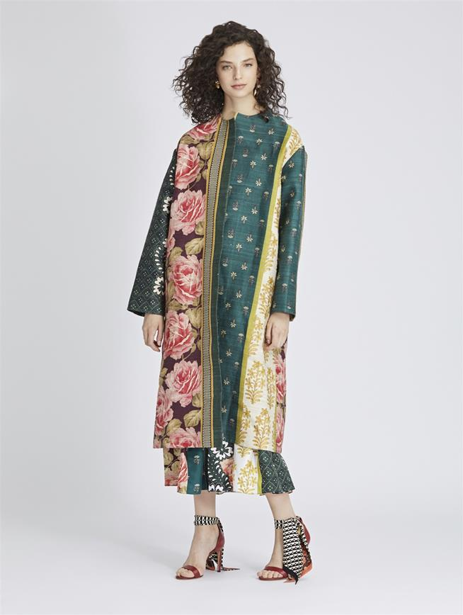 Patchwork Stripe Silk Tussah Coat Spruce/Multi