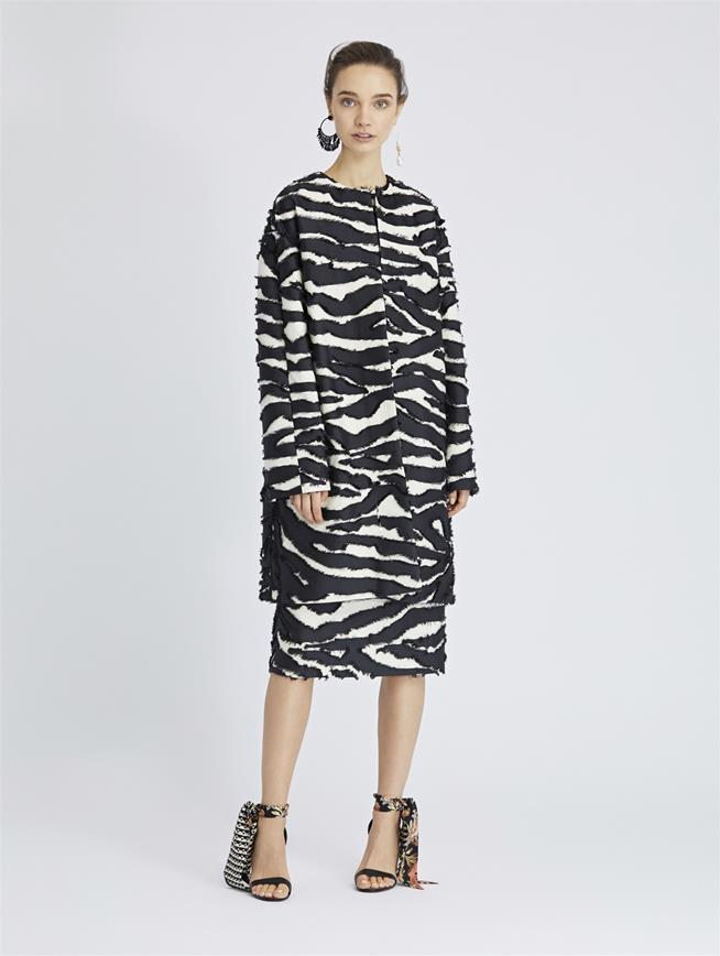 Zebra Fil Coupé Coat Black/Ivory