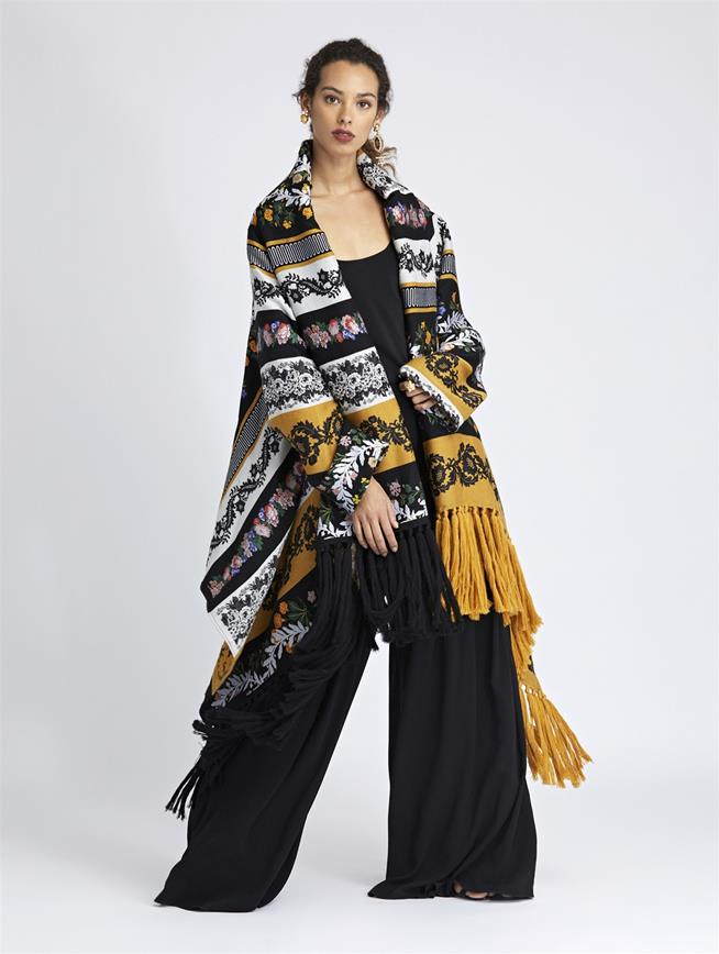 Floral Chine Silk-Jacquard Coat Saffron Multi