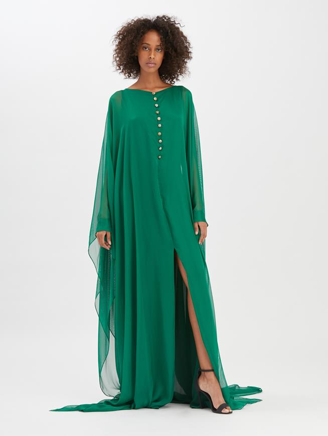 Evergreen Silk-Gauze Caftan Evergreen