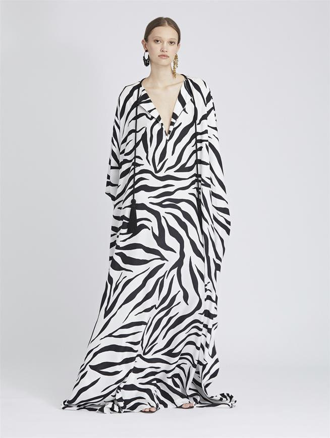 Zebra King Silk-Twill Caftan White Black